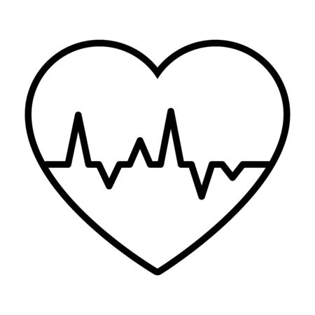 cardio heart icon over white background, line style, vector illustration