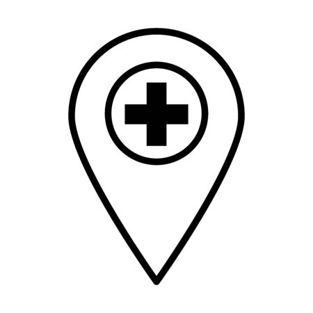 location pin with medical cross icon over white background, line style, vector illustration