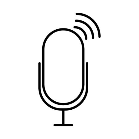radio microphone on air icon over white background, line style, vector illustration Stock Illustratie