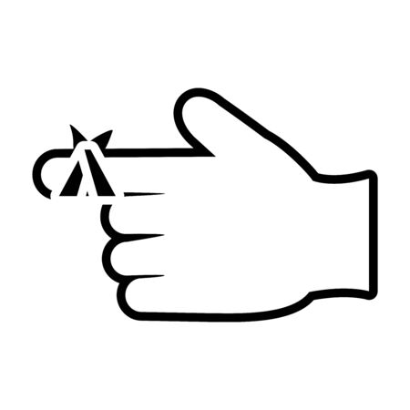 hand with injured finger icon over white background, line style, vector illustration Ilustração