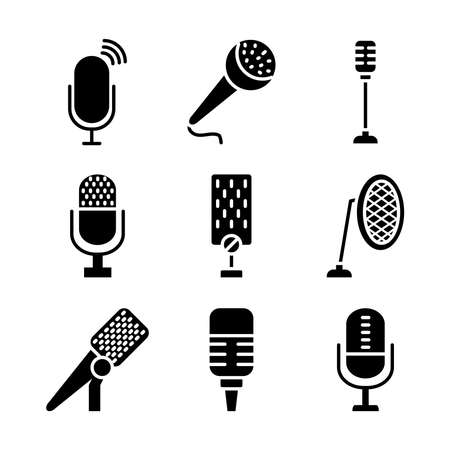 podcasting and retro microphones icon set over white background. silhouette style vector illustration.