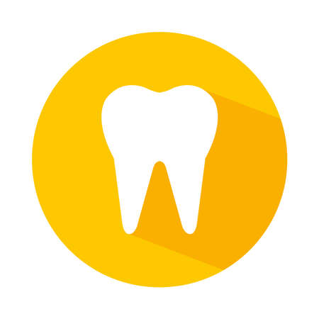 tooth icon over white background. block style vector illustration.