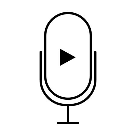 microphone with play arrow icon over white background, line style, vector illustration