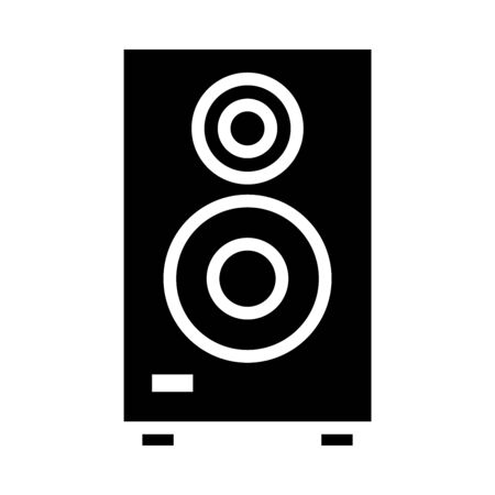speaker bass icon over white background, silhouette style, vector illustration