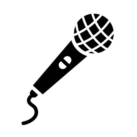 classic microphone with cord icon over white background, silhouette style, vector illustration