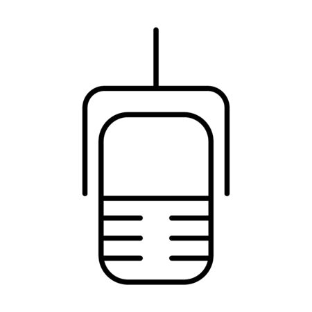 radio microphone icon over white background, line style, vector illustration Stock Illustratie