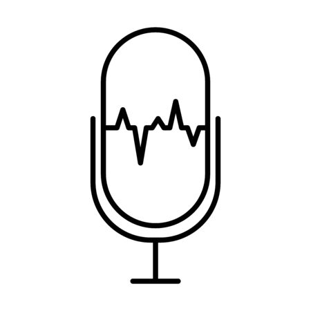 sound retro microphone icon over white background, line style, vector illustration