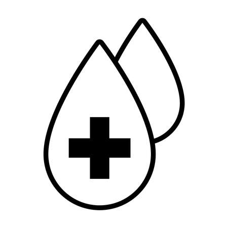 blood drops icon over white background, line style, vector illustration