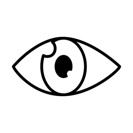 eye icon over white background, line style, vector illustration Stock Illustratie