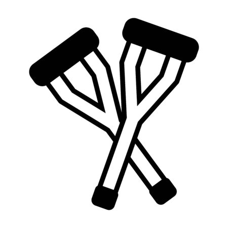 crutches icon over white background, line style, vector illustration