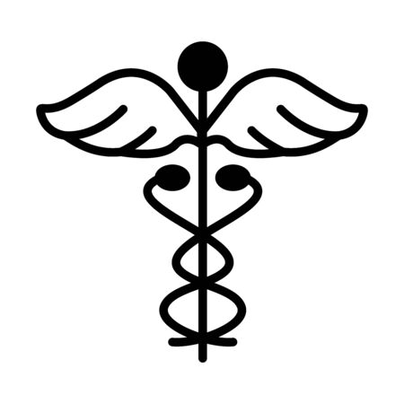 medicine symbol icon over white background, line style, vector illustration