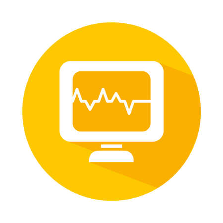 cardio monitor icon over white background, block style, vector illustration Ilustracja
