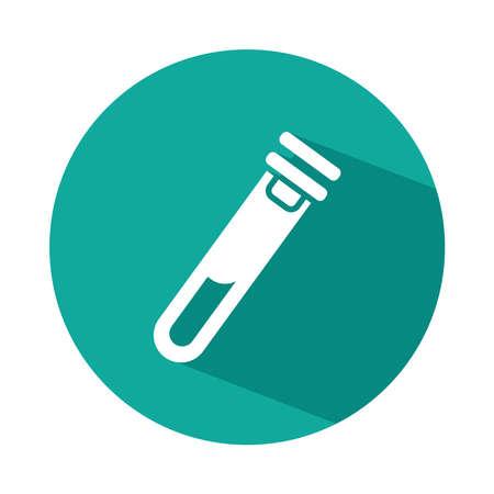 test tube icon over white background, block style, vector illustration 向量圖像