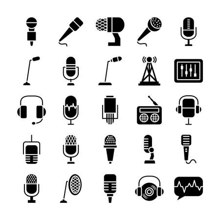 radio and retro microphone icon set over white background, silhouette style, vector illustration 向量圖像