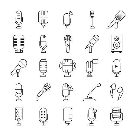 retro microphones and microphones icon set over white background, line style, vector illustration 向量圖像