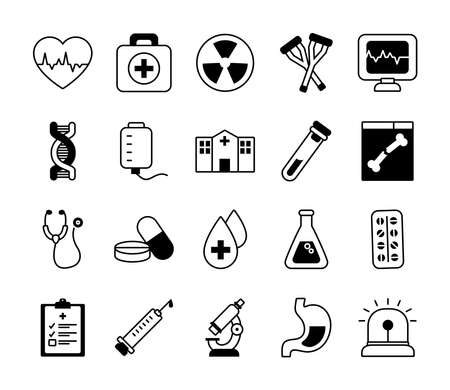 cardio heart and medical icon set over white background, line style, vector illustration
