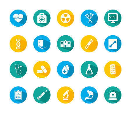 cardio heart and medical icon set over white background, block style, vector illustration