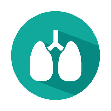lungs organ icon over white background, block style, vector illustration 向量圖像