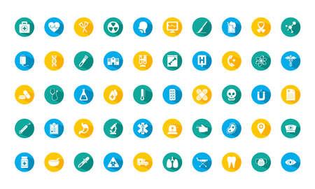 medical icons set over white background, block style, vector illustration