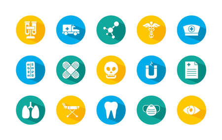 set of skull and medical icons over white background, block style, vector illustration 向量圖像
