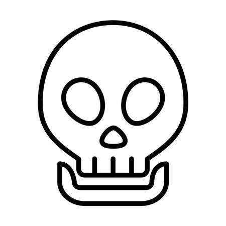 skull icon over white background, line style, vector illustration