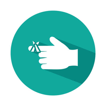 hand with injured finger icon over white background, block style, vector illustration