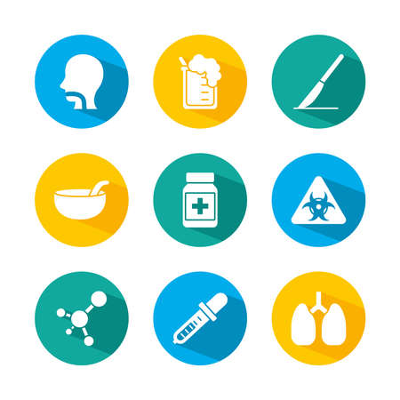 lungs and set of medical icons over white background, block style, vector illustration 向量圖像