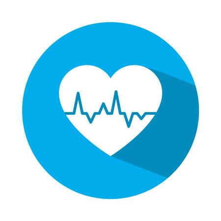 cardio heart icon over white background, block style, vector illustration Ilustracja
