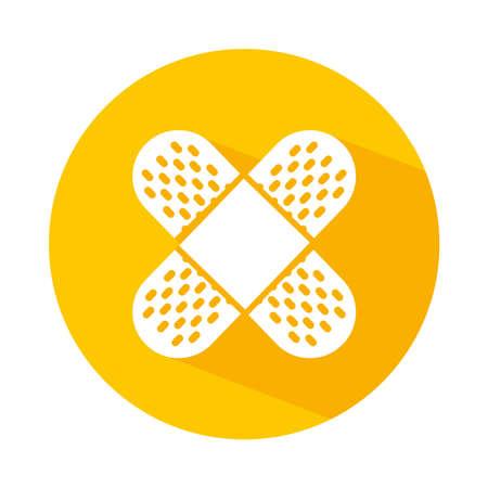 crossed bandage icon over white background, block style, vector illustration