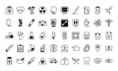 medical icons set over white background, line style, vector illustration Stock Illustratie