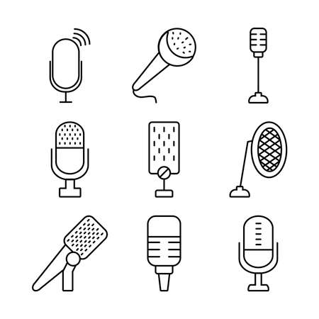 podcasting and retro microphones icon set over white background, line style, vector illustration 向量圖像