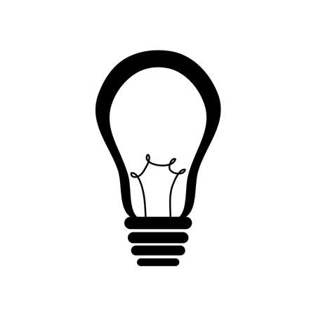 sign bulb light icon over white background, silhouette style, vector illustration