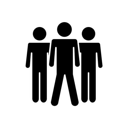 pictogram three men icon over white background, silhouette style, vector illustration