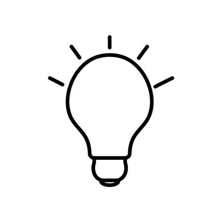 bulb light shining icon over white background, line style, vector illustration