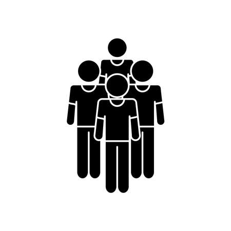 group of pictogram men icon over white background, silhouette style, vector illustration