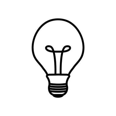 incandescent bulb light icon over white background, line style, vector illustration