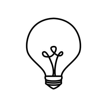 bulb light in globe shape over white background, line style, vector illustration Ilustração