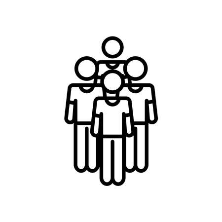 group of pictogram men icon over white background, line style, vector illustration