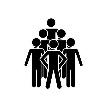 pictogram people icon over white background, silhouette style, vector illustration  イラスト・ベクター素材