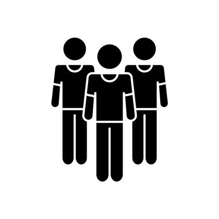 pictogram men standing over white background, silhouette style, vector illustration