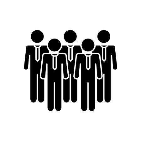businessmen standing icon over white background, silhouette style, vector illustration  イラスト・ベクター素材