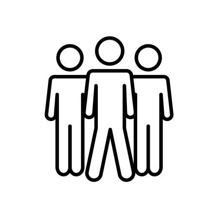 pictogram three men icon over white background, line style, vector illustration