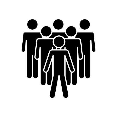 group of men standing icon over white background, silhouette style, vector illustration