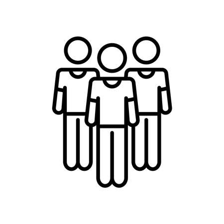 pictogram men standing over white background, line style, vector illustration  イラスト・ベクター素材