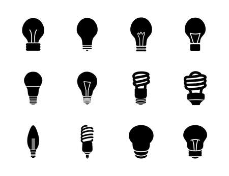 spiral lamps and bulb lights icon set over white background, silhouette style, vector illustration Ilustração