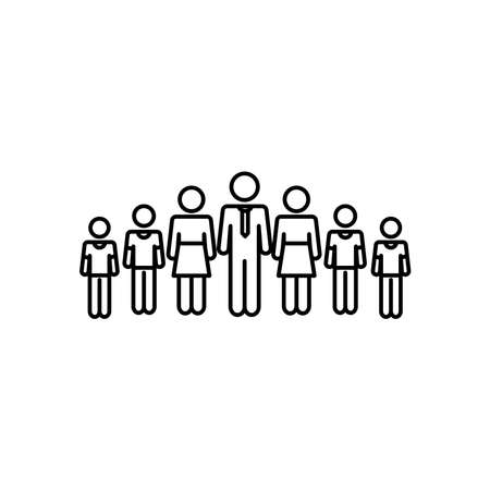 pictogram women and men standing over white background, line style, vector illustration