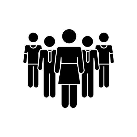 pictogram businessmen and woman standing over white background, silhouette style, vector illustration