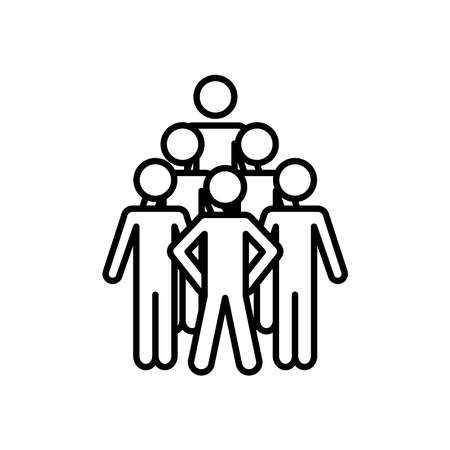 pictogram people icon over white background, line style, vector illustration