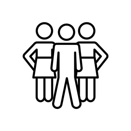 pictogram women and man icon over white background, line style, vector illustration  イラスト・ベクター素材
