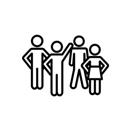 pictogram men and woman icon over white background, line style, vector illustration